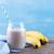 gezonde · banaan · smoothie · houten · glas · tabel - stockfoto © lana_m