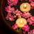 pembe · krizantem · çiçekler · mumlar · çanak · su - stok fotoğraf © lana_m