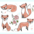 cute little hipster fox set with flowers leafs and hearts stock photo © lapesnape