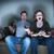 paar · vergadering · sofa · kijken · tv - stockfoto © leeavison