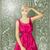 vector surprised blonde in pink dress against love background stock photo © leedsn