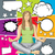 vector woman meditating in lotus pose with set of speech bubble stock photo © leedsn