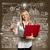 Homme · portable · bien · femme · d'affaires · rouge · ordinateur - photo stock © leedsn