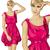 vector surprised blonde in pink dress stock photo © leedsn