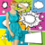 vector surprised blonde in blue dress with set of speech bubble stock photo © leedsn