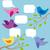 kuşlar · bulut · konuşma · balonu · komik · kart · hayvan - stok fotoğraf © leedsn