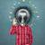 lampe · tête · homme · idée · magnifique · main - photo stock © leedsn