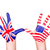 american and english flags on hands stock photo © len44ik