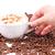 geïsoleerd · koffieboon · beker · top · koffiebonen - stockfoto © len44ik