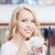 mulher · jovem · café · tempo · shopping · café - foto stock © len44ik