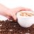 aislado · mano · taza · grano · de · café · bocadillo - foto stock © len44ik