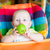 adorable baby eating apple in high chair stock photo © len44ik