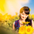 młoda · kobieta · oferowanie · bukiet · słoneczniki · uśmiechnięty - zdjęcia stock © len44ik
