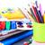 volver · a · la · escuela · escuela · materiales · manzana · roja · escritorio - foto stock © len44ik