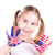 american and english flags on childs hands stock photo © len44ik