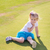 cute · bambina · giocare · golf · campo · outdoor - foto d'archivio © len44ik