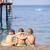 çocuklar · üç · birlikte · oturma · plaj · su - stok fotoğraf © len44ik