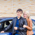 happy young couple standing near the car stock photo © len44ik