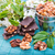 walnuts in a backet with pieces of chocolate with nuts stock photo © len44ik