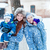 happy mothers and babys playing on snow stock photo © len44ik