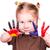 mooi · meisje · handen · geschilderd · frans · vlaggen · geïsoleerd - stockfoto © Len44ik