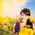 молодые · красивая · женщина · букет · подсолнухи · области · закат - Сток-фото © len44ik