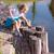 cute little girl sitting near the lake stock photo © len44ik