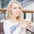 gyönyörű · elegáns · lány · iszik · megnyugtató · kávézó - stock fotó © len44ik