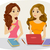 tanulás · haverok · illusztráció · kettő · nők · tanul - stock fotó © lenm