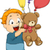 illustration of kid boy with balloons and stuff toy stock photo © lenm