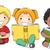 okuma · kitaplar · küçük · bir · grup · çocuklar · kız · çocuklar - stok fotoğraf © lenm