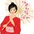 kimono · meisje · manga · permanente · bloem · glimlach - stockfoto © lenm