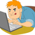 cara · escritor · datilografia · rápido · ilustração · menino - foto stock © lenm