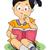 Kid · девушки · читать · книга · подушка · иллюстрация - Сток-фото © lenm