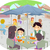 stickman family dining al fresco stock photo © lenm