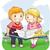 屋外 · 読む · 子供 · 実例 · 図書 · オープン - ストックフォト © lenm