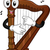 harfa · maskotka · ilustracja · muzyki · zauważa · wektora - zdjęcia stock © lenm