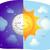 zon · maan · cartoon · exemplaar · ruimte · wolken · licht - stockfoto © lenm