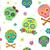 colorido · crânios · ilustração · branco · cara · ciência - foto stock © lenm