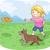 kid girl frisbee dog stock photo © lenm