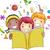 meisje · jongen · lezen · boek · vector · clipart - stockfoto © lenm