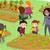 stickman kids school trip to vegetable garden stock photo © lenm