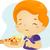 ピザ · 子供 · 実例 · 少年 · 楽しく · 食べ - ストックフォト © lenm