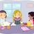 tanulás · haverok · illusztráció · női · szobatársak · tanul - stock fotó © lenm