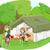 kinderen · picknick · drie · cute · samen · bloemen - stockfoto © lenm