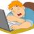 cara · escritor · adormecido · ilustração · computador · homem - foto stock © lenm
