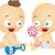 recém-nascido · bebês · vetor · meninos · meninas · engraçado - foto stock © lenm