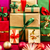 three piles of xmas gifts in red gold and green stock photo © leowolfert