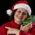 glimlachend · vrouwelijke · senior · Rood · kerstman · cap - stockfoto © leowolfert