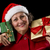 glimlachend · dame · gouden · groene · christmas · geschenken - stockfoto © leowolfert